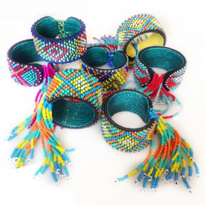 Bagobo tribe -  beaded cuffs  with fringe