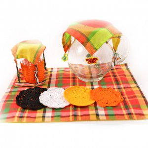 Table setting -  patadyong coasters glass hanging