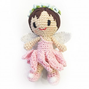 crochet angel - in pink with headress