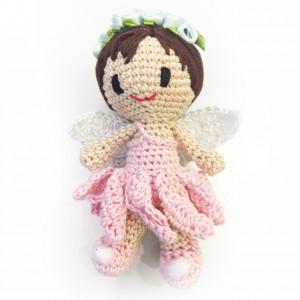 crochet angel - in pink with headress