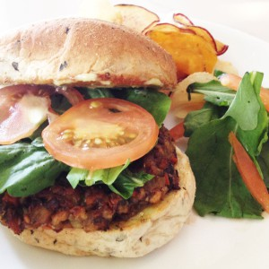 ECHOcafe Hot Sandwich - Banana Heart Patty Sandwich
