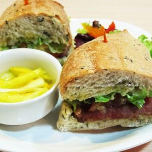 ECHOcafe Hot Sandwiches - Chicken Longganisa and Salted Egg Pan de Sal