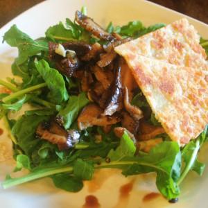 ECHOcafe Salad - Warm Mushroom Arugula with Parmesan Crisp